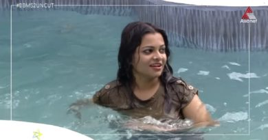 Jazla Madasseri into the swimming pool Bigg Boss Malayalam 2